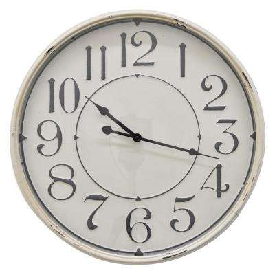 19 in. White Metal Wall Clock