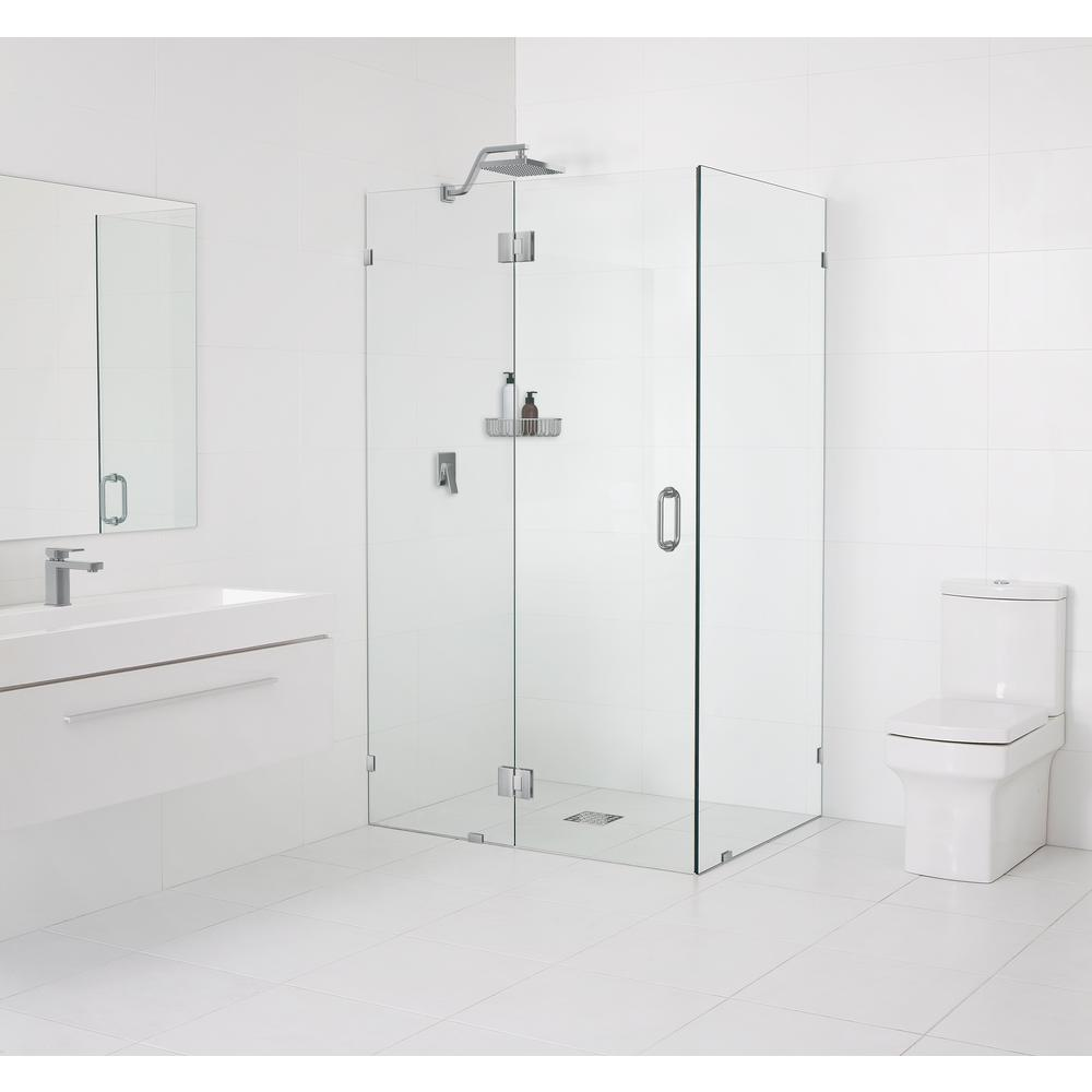 Glass Warehouse 34.5 in. x 78 in. x 34.5 in. Frameless 90 Degree Hinged Glass Shower Enclosure in Brushed Nickel