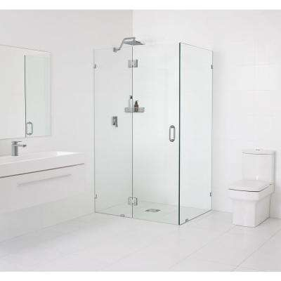 59 in. x 78 in. x 34 in. Frameless 90 Degree Hinged Glass Shower Enclosure in Brushed Nickel