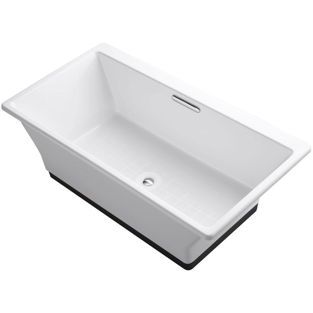 Reve 5.5 ft. Porcelain-Enameled Cast Iron Flat Bottom Non-Whirlpool Bathtub in White