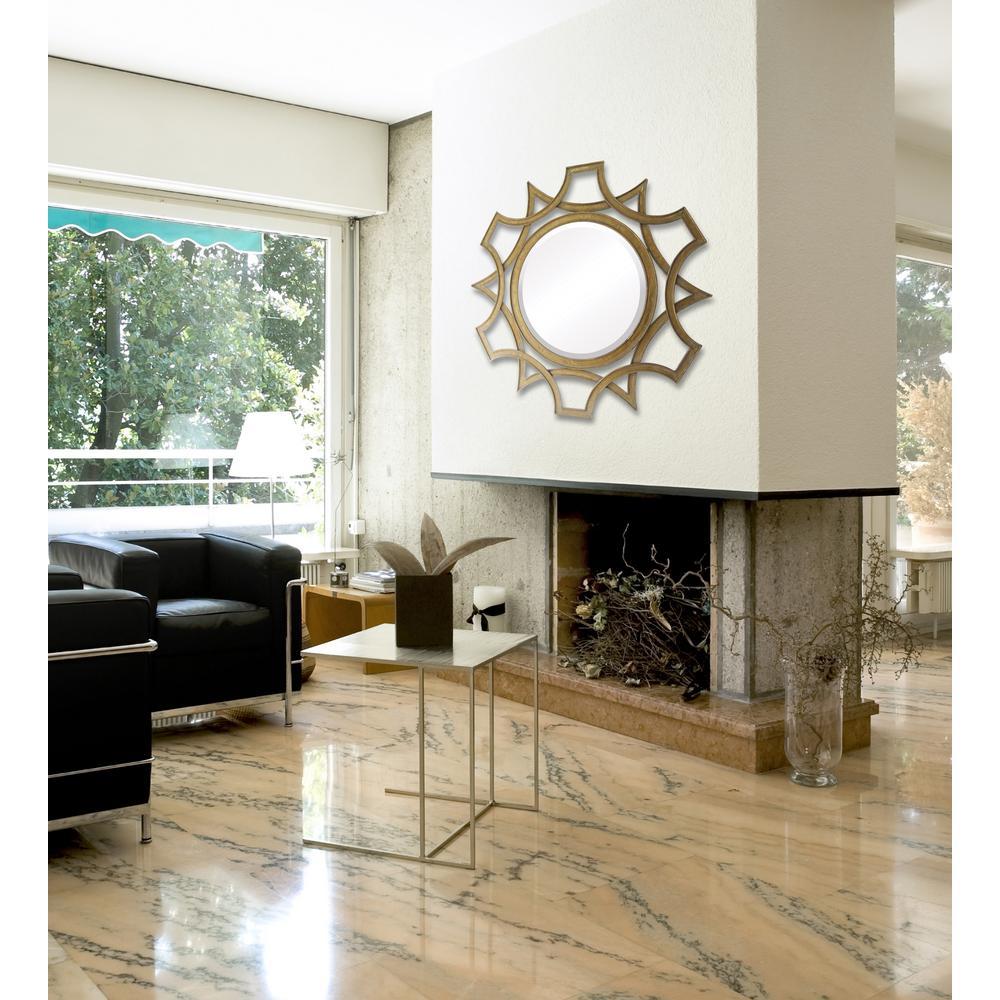 Titan Lighting Abberley 40 In Round Antique Framed Beveled Mirror