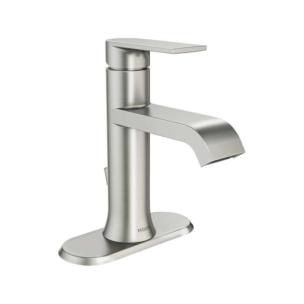 Moen Genta Single Hole Single Handle Bathroom Faucet In Spot Resist Brushed Nickel Ws84760srn The Home Depot