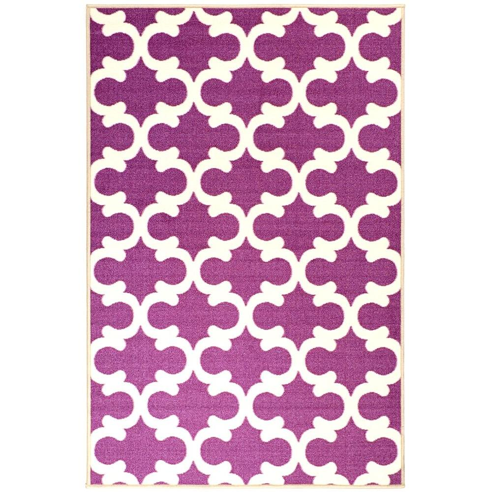 Glamour Collection Contemporary Moroccan Trellis Design Purple 3 ft. x 5