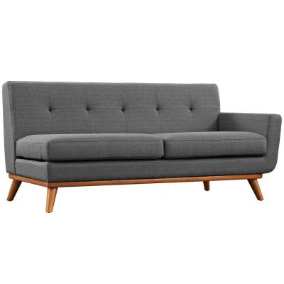 Engage 73 in. Gray Polyester 2-Seater Right-Facing Loveseat with Wood Legs