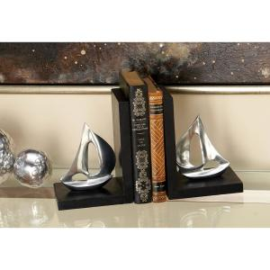 5 inch x 7 inch Silver Sailboat L-Shaped Bookends by