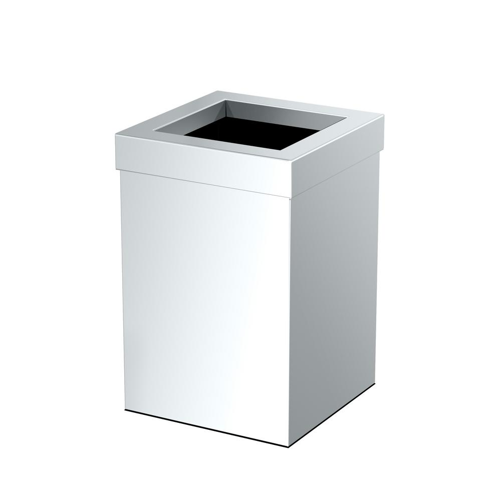 Waste Can Basket Square Chrome Stainless Steel Bathroom Kitchen Office Trash Bin
