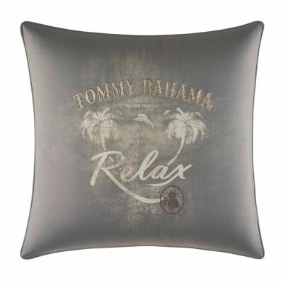 Tommy Bahama Raffia Palms Grey Floral Polyester 20 in. x 20 in. Throw Pillow
