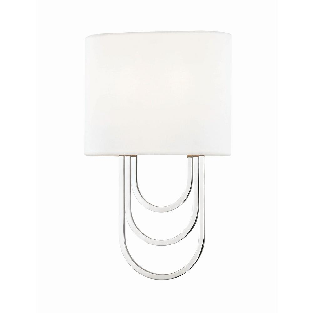Farah 2-Light Polished Nickel Wall Sconce with White Linen Shade