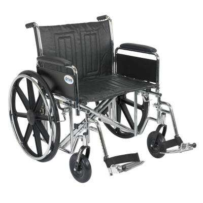 Sentra EC Heavy Duty Wheelchair with Full Arms, Swing Away Footrest and 24 in. Seat