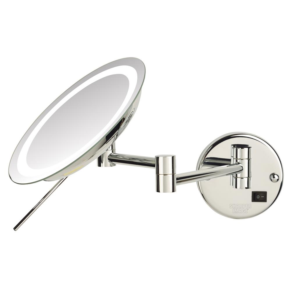 Sharper Image Makeup Mirror.Sharper Image 10 In X 11 In Single Led Lighted Wall Makeup Mirror