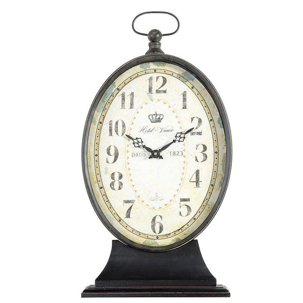 Paris 1823 22.25 in. H x 12.25 in. W Oval Antiqued Mantel Clock