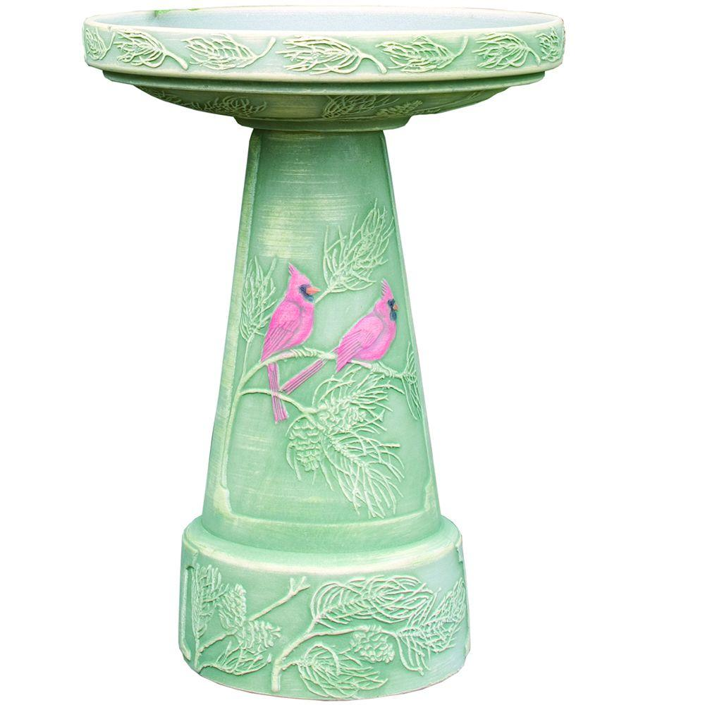 Winter Cardinal Hand-Painted Birdbath Set