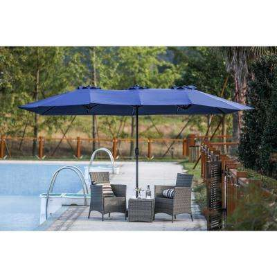 9 x 15 ft. Steel Market Patio Umbrella in Blue