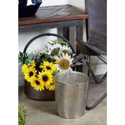 Round Silver Iron Waste Can with Perforated Design