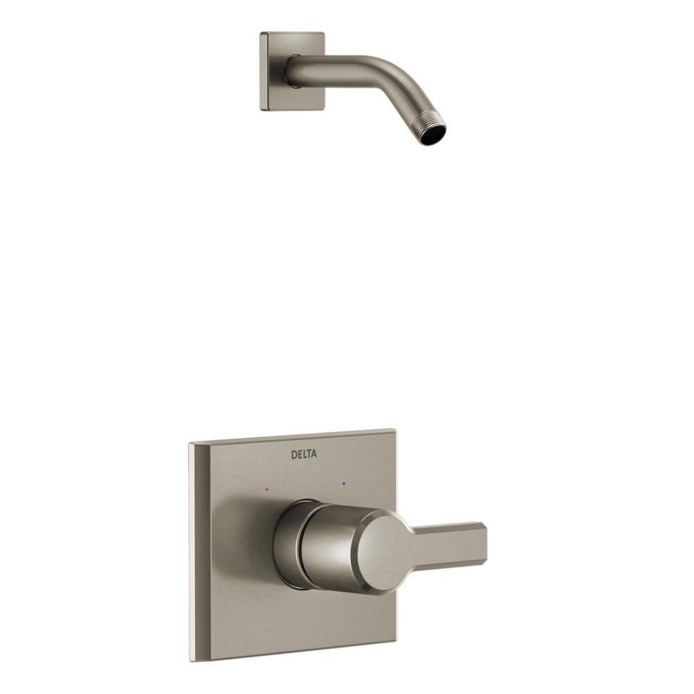 Pivotal 1-Handle Wall-Mount Shower Trim Kit in Stainless (Valve and Shower