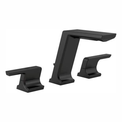Pivotal 8 in. Widespread 2-Handle Bathroom Faucet with Metal Drain Assembly in Matte Black
