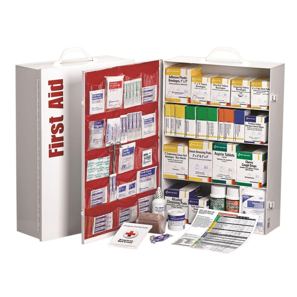 1060-Piece 4 Shelf Metal Industrial First Aid Kit Station with Pocket