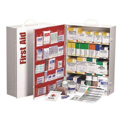 1060-Piece 4 Shelf Metal Industrial First Aid Kit Station with Pocket Liner