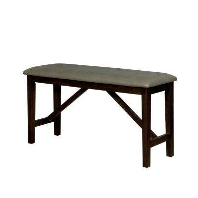 Alba Wire-Brushed Rustic Brown Faux Leather Counter-Height Bench