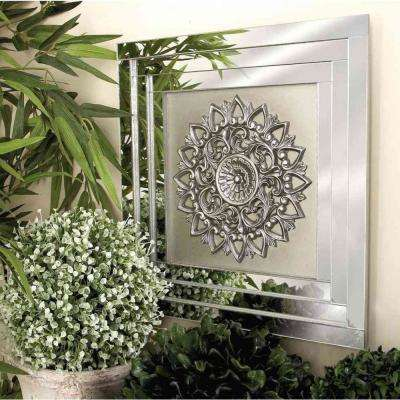 16 in. x 16 in. Antique Silver Botanical Wall Tiles (Set of 3)