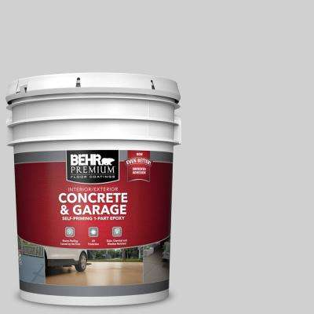 5 gal. #N520-1 White Metal 1-Part Epoxy Satin Interior/Exterior Concrete and Garage Floor Paint