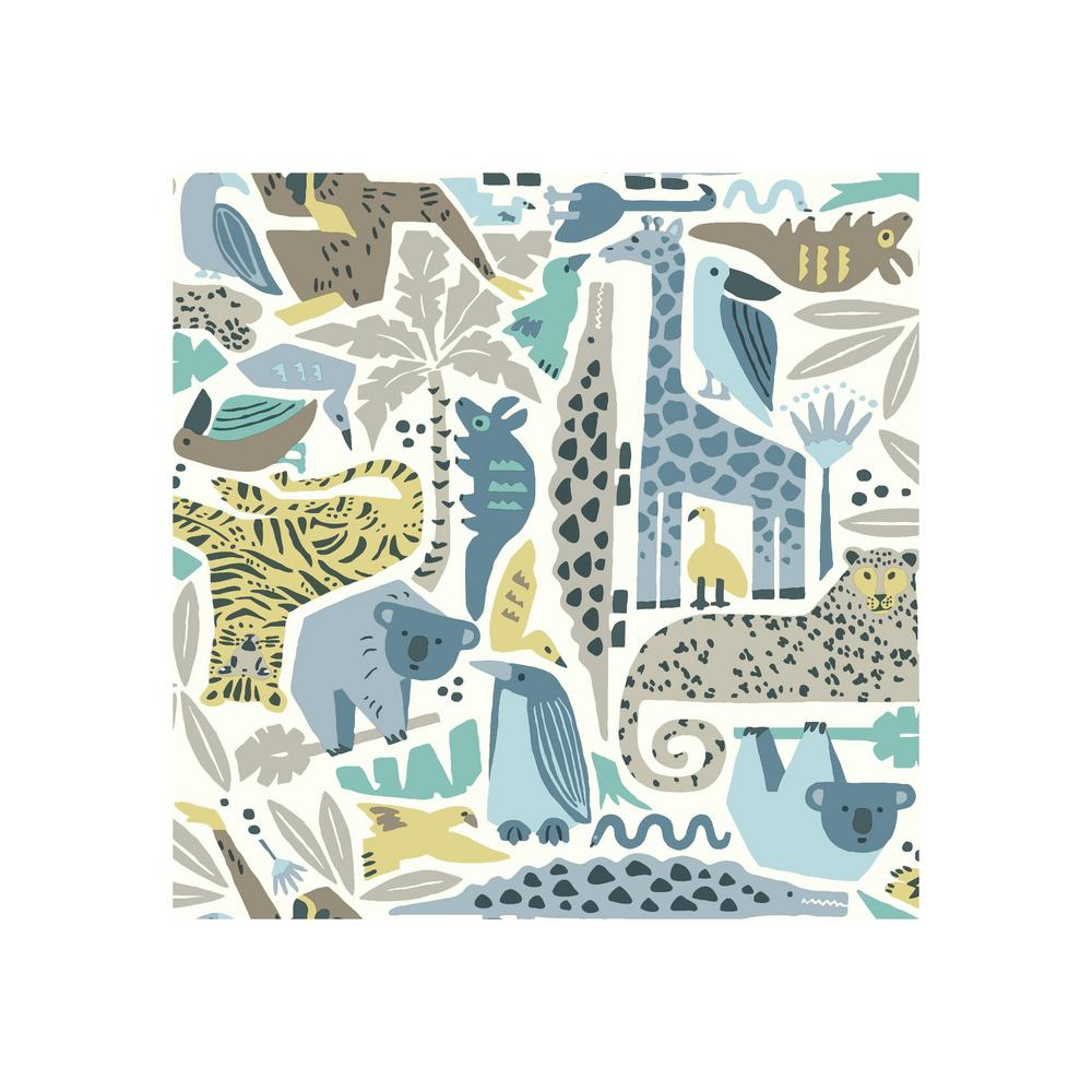 York Wallcoverings DwellStudio Baby And Kids Jungle Puzzle Wallpaper DW2300