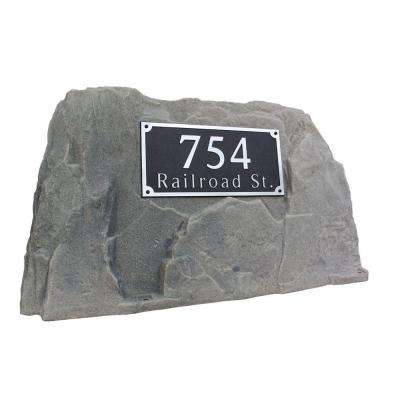 39 in. L x 21 in. W x 21 in. H Plastic Rock Cover with Square Sign in Gray