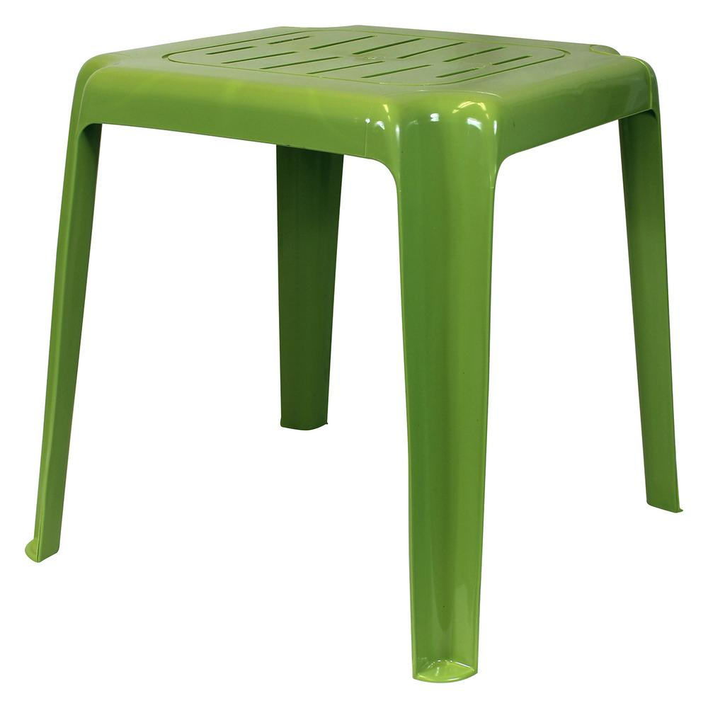 Sage Green Stackable Slotted Plastic Outdoor Side Table