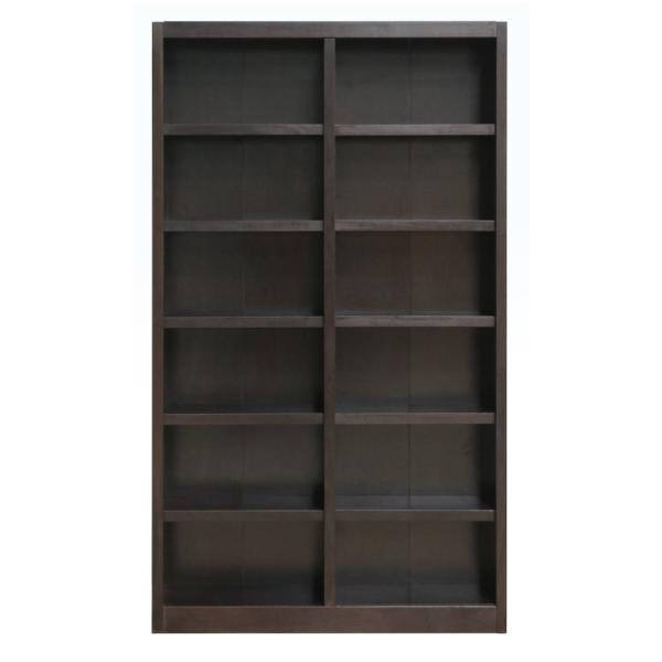 Midas Double Wide Wood Bookcase,12 Shelves, 84 in. H , Espresso Finish
