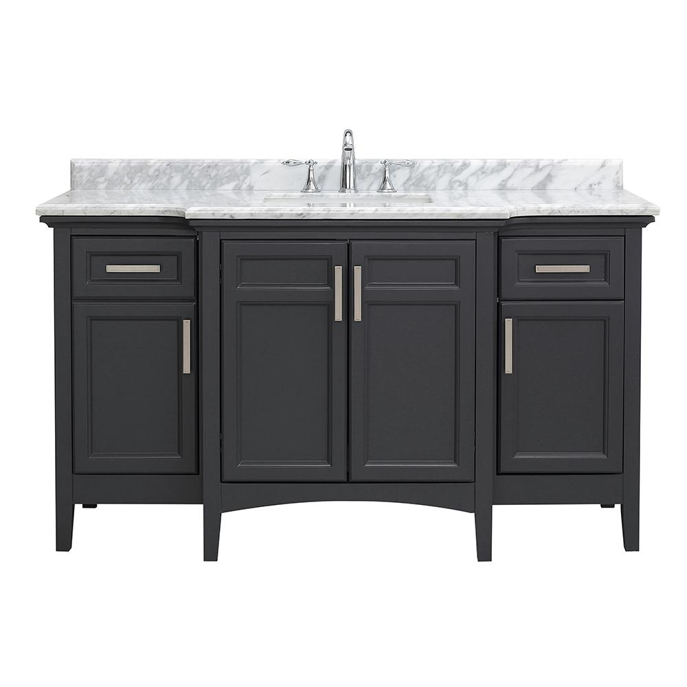 Sassy 60 in. W x 22 in. D Vanity in Dark Charcoal with Marble Vanity Top in White with White Sink