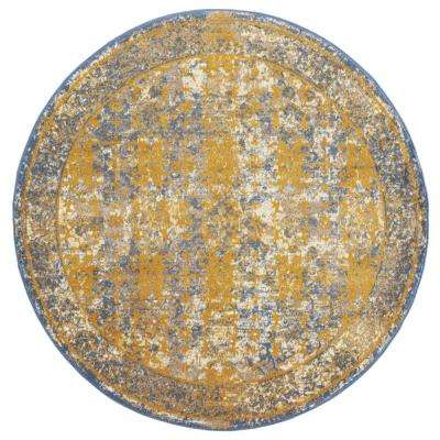 Scentasia Yellow-Blue Bordered 6 ft. 7 in. x 6 ft. 7 in. Round Rug