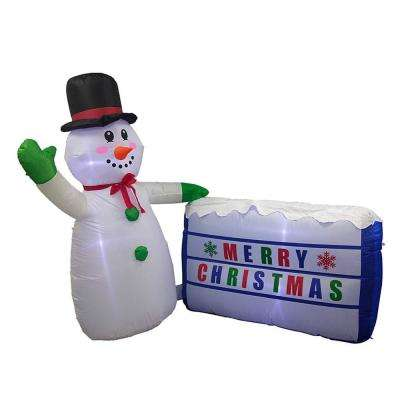 72 in. Christmas Inflatable LED Waving Snowman with Merry Christmas Sign
