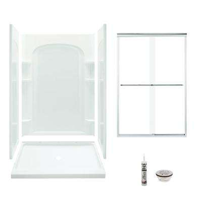 Ensemble 34 in. x 48 in. x 75.75 in. Center Drain and Backers Alcove Shower Kit in White and Chrome