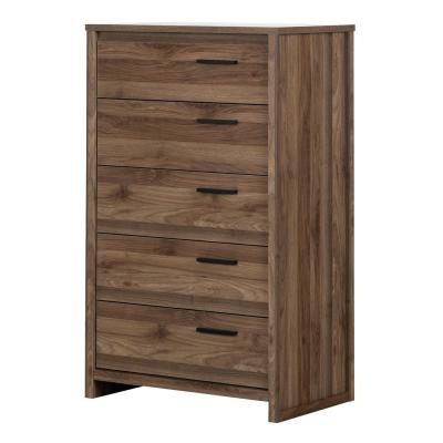 Tao 5-Drawer Natural Walnut Chest of Drawers