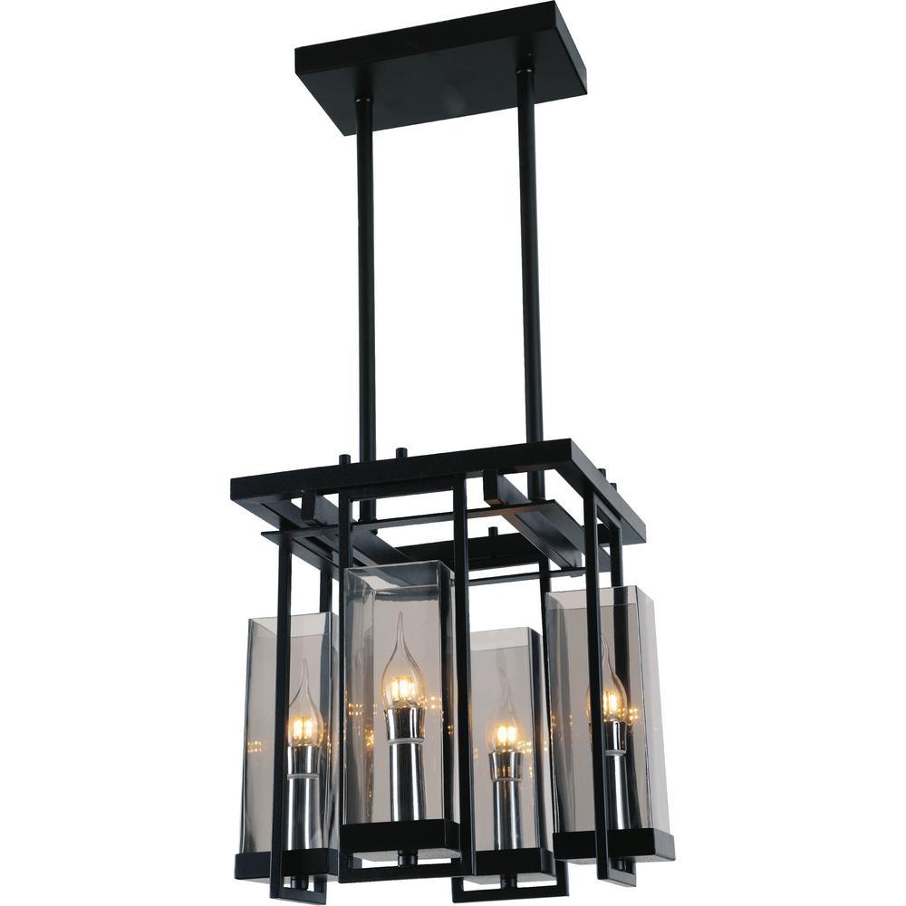 Cwi lighting vanna 4 light black chandelier with clear shade 9858p14 cwi lighting vanna 4 light black chandelier with clear shade aloadofball Choice Image