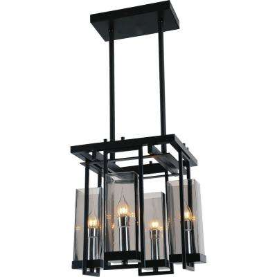 Vanna 4-Light Black Chandelier with Clear shade