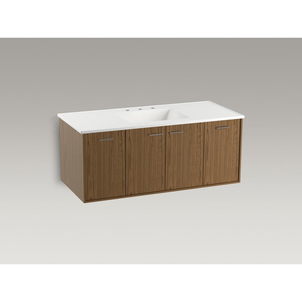 KOHLER Jute 48 in. W Wall-Hung Vanity Cabinet in Walnut Flax with Vitreous China Vanity Top in White Impressions with Basin