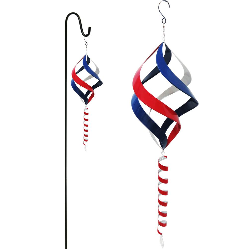 Alpine Corporation 38 in. Red, White and Blue Metal Wind Spinner with Shepherd's Hook