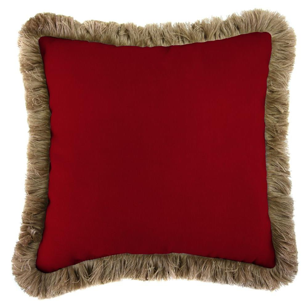 Sunbrella Canvas Henna Square Outdoor Throw Pillow with Heather Beige Fringe