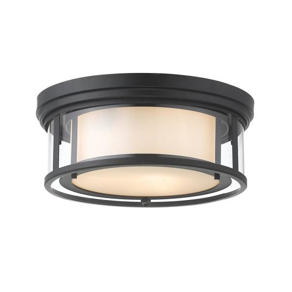 3-Light Matte Black Flush Mount with Inner White and Outer Clear Glass