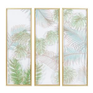 36 in. x 12 in. Blue Glass Natural Wall Decor (Set of 3)