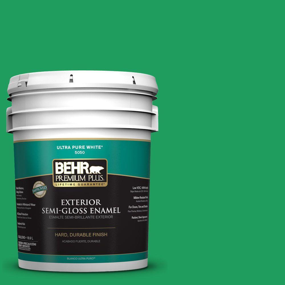 BEHR Premium Plus 5-gal. #S-G-450 Herbal Tea Semi-Gloss Enamel Exterior Paint