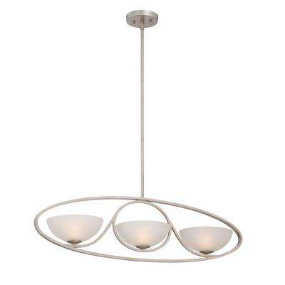 Carlucci 3-Light Linear Silver Chandelier with Ivory White Shade
