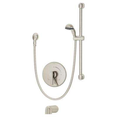 Dia Single-Handle 1-Spray Tub and Shower Faucet in Satin Nickel (Valve Included)