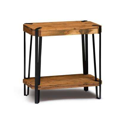 Ryegate Live Edge Brown and Black Natural Wood with Metal End Table