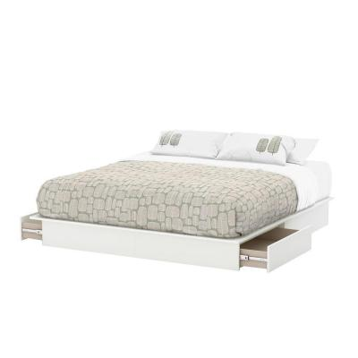 Step One 2-Drawer King-Size Platform Bed in Pure White