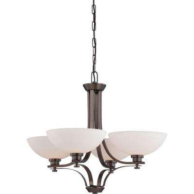 4-Light Hazel Bronze Chandelier with Frosted Glass Shade