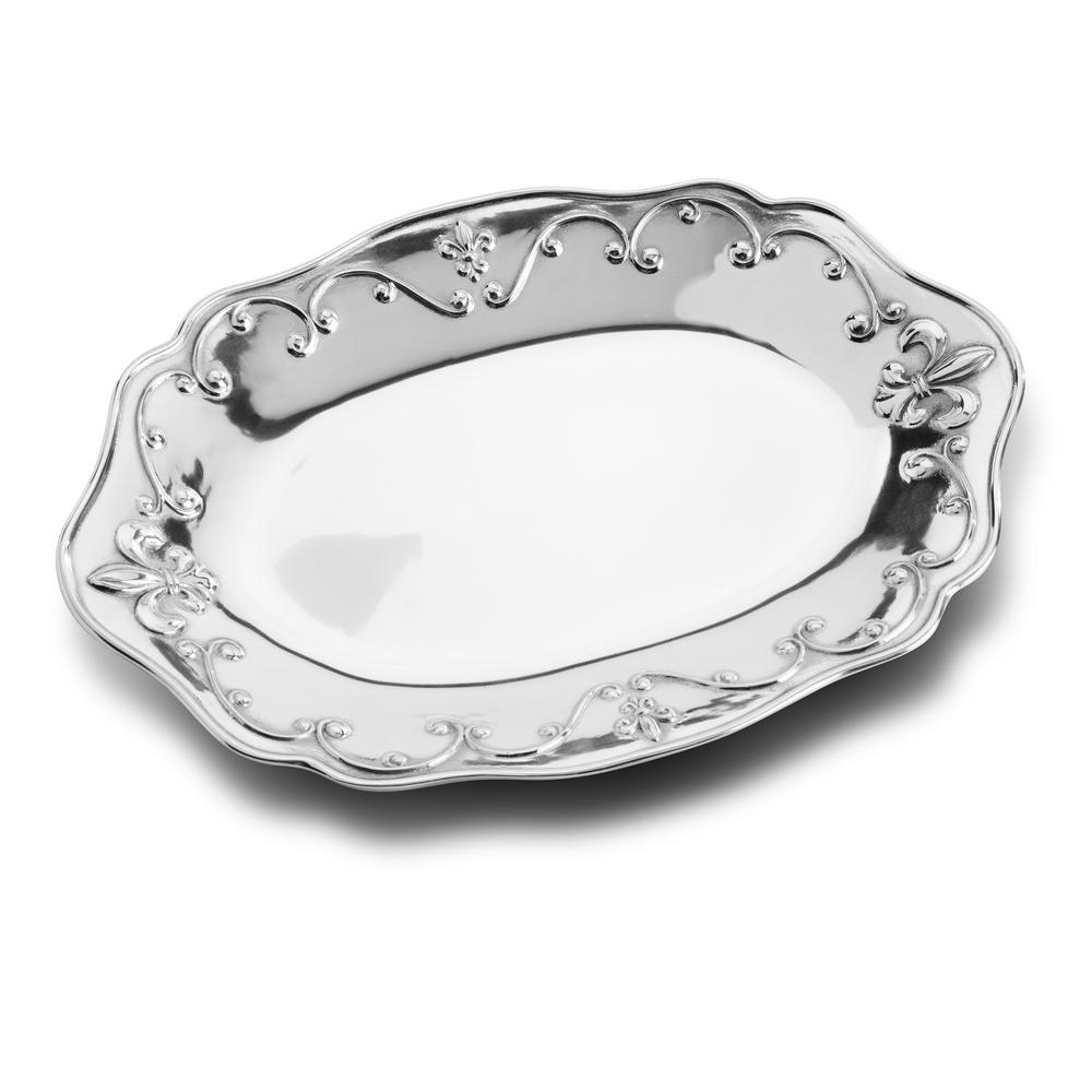 Fleur de Lis 15.75 in. x 10.75 in. Oval Serving Tray