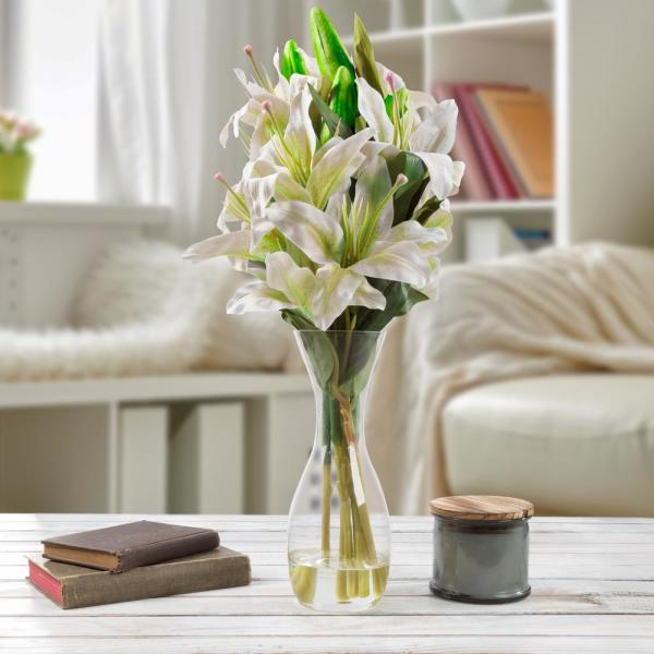 Pure Garden 21.5 in. Lily Artificial Floral White Arrangement