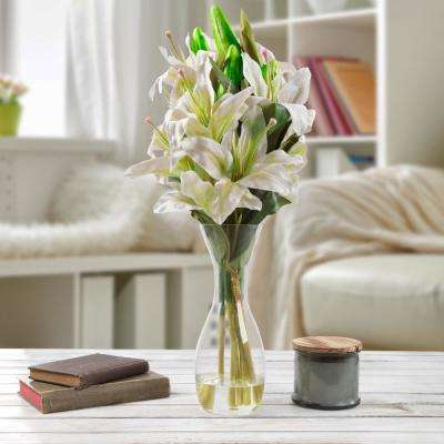 21.5 in. Lily Artificial Floral White Arrangement